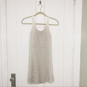 Express X-Small Cream Lace Skater Dress